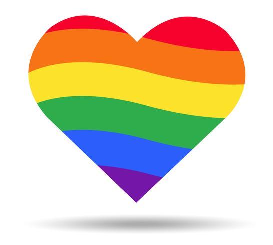 regnbåge flagga HBT symbol på hjärta vektor