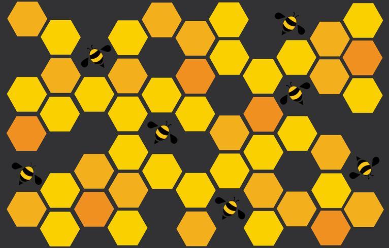 Hexagonbienenstock-Designkunst und Raumhintergrund vektor