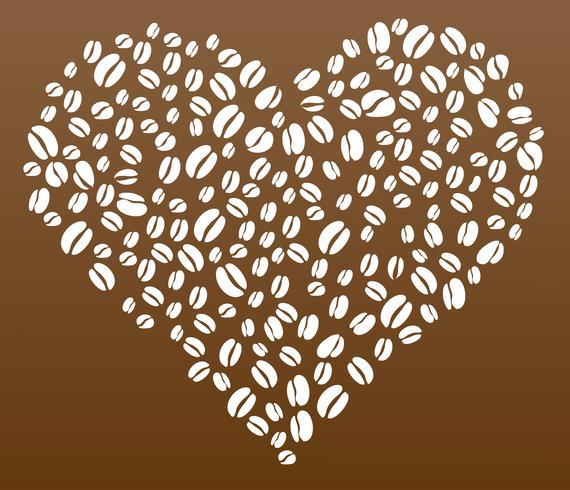 Kaffeebohnen im Herzformvektor vektor