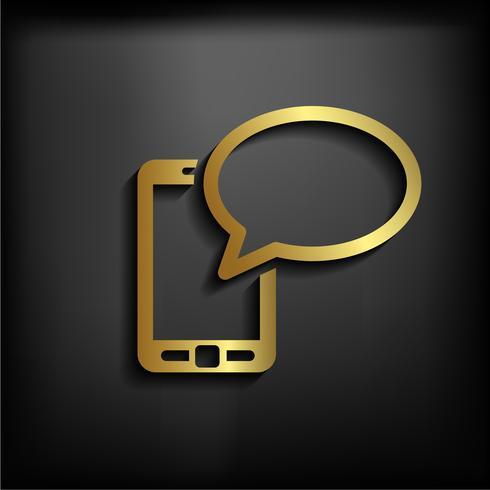 Mobiles Plaudern der Ikone Handy, der Netz-Plaudern und Dialog darstellt Mit Goldfarbe vektor