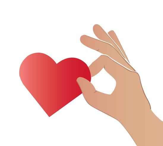Hand, die den Herzkunstvektor hält vektor