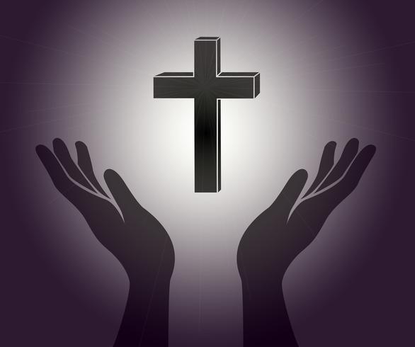 Hand und das Jesus Christus Kreuz Zeichen vektor