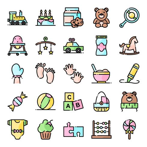Babyparty Icons Pack vektor