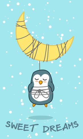 Pinguin und Mond im süßen Traumthema. vektor