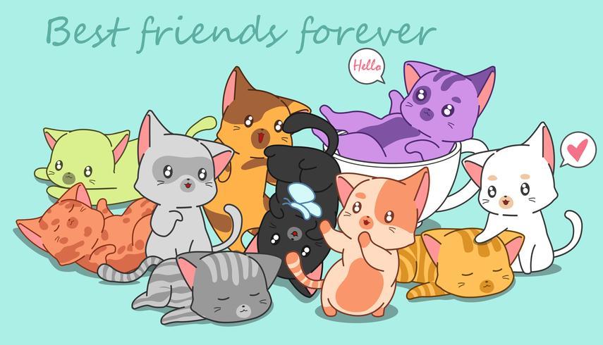 många små söta katter. vektor