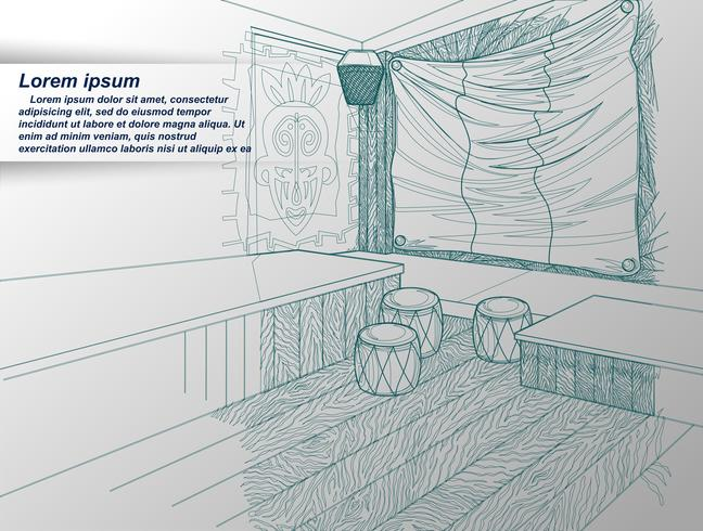 teckning av inredning. vektor
