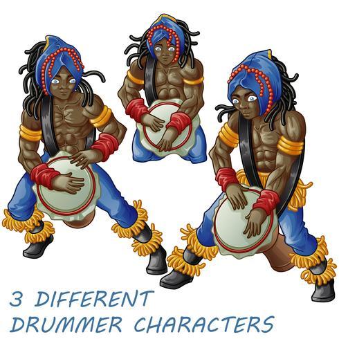 3 trummiskaraktärer. vektor