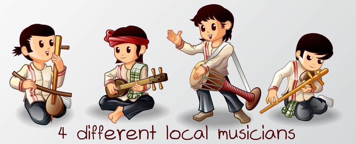 4 Lokala musiker karaktär i tecknad stil. vektor