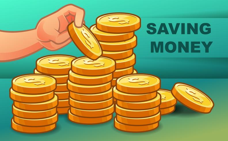 Någon sparar pengar för rikedom. vektor