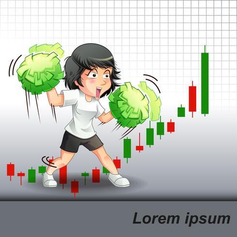 Sie förderte das Aktienwachstum auf Candle-Stick-Chart-Hintergrund. vektor