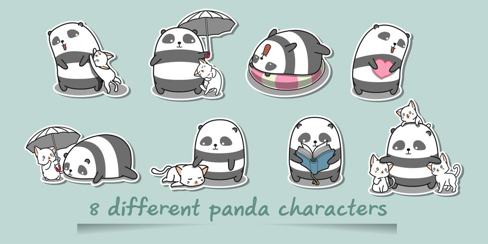 8 olika pandafigurer. vektor