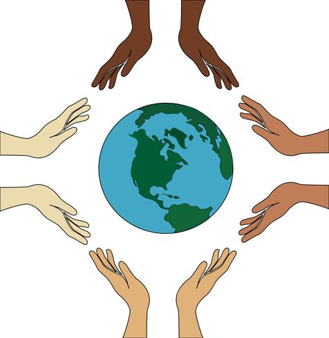 alla händer håller världen vektor