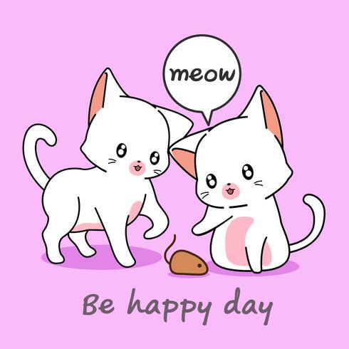 2 süße Katzen spielen mit einem Mäuschen. vektor