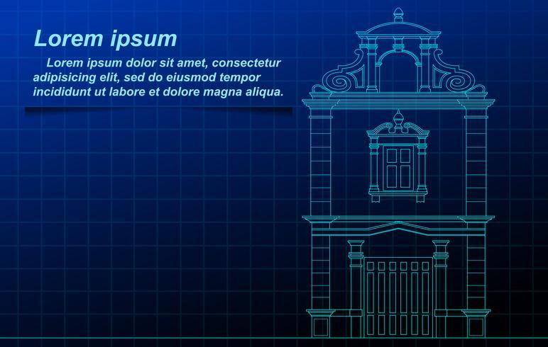 historischer Gebäudeumriss. vektor