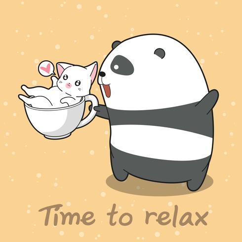 Panda och katt i tid att slappna av. vektor