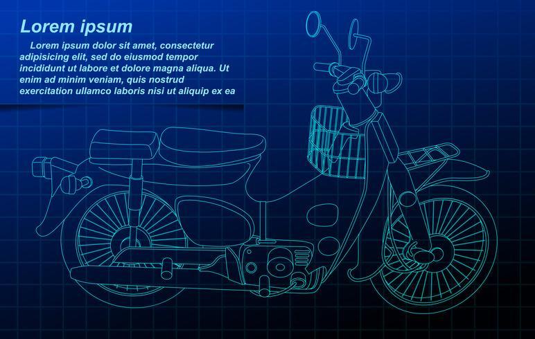 Motorcykel trådram. vektor