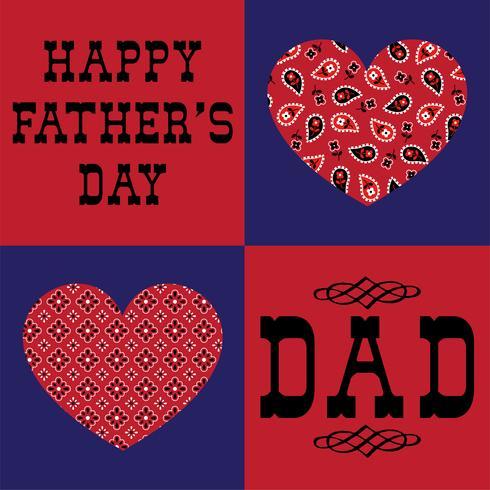 fars dag pappa med röda bandana hjärtan vektor