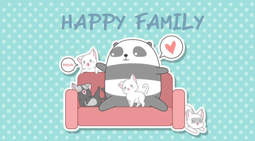 Panda und 4 Katzen im Cartoon-Stil. vektor