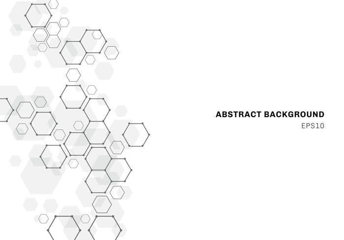 Sammanfattning hexagonal molekylstruktur av neuronsystem. Digital teknik bakgrund. vektor