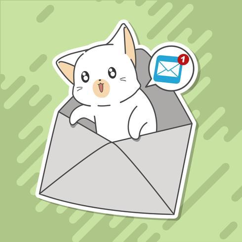 Lilla katt berättar om mail. vektor