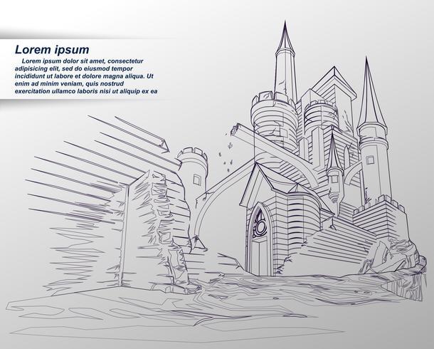 Skissning av slott. vektor