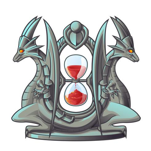 Dragon of sand timer i tecknad stil. vektor