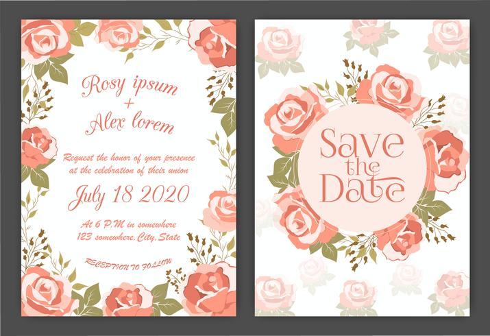 Hochzeitseinladungskarte Floral Hand gezeichneten Rahmen. vektor