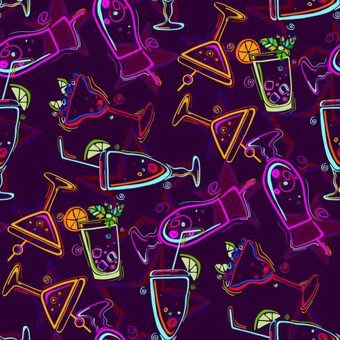 Seamless mönster med cocktails. vektor