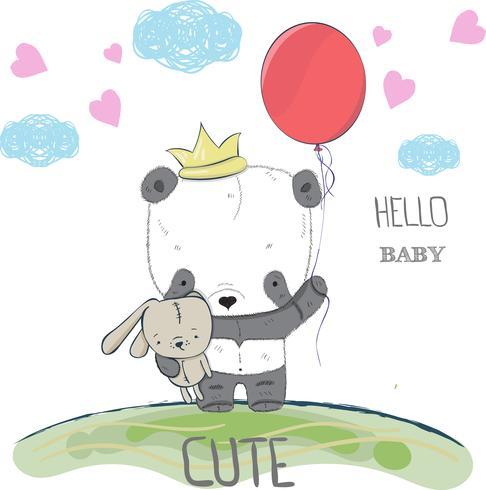 söt liten panda vektor