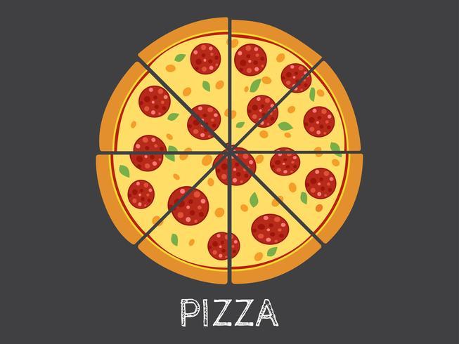 Vector die ganze Illustration und Scheibenpizza, die auf schwarzem Hintergrund lokalisiert werden