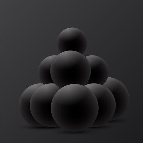Abstraktes Design der Kugel 3D auf schwarzem Hintergrund. vektor