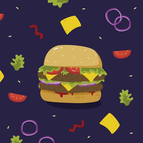 Burger-Sommer-Nahrungsmittelvektor vektor