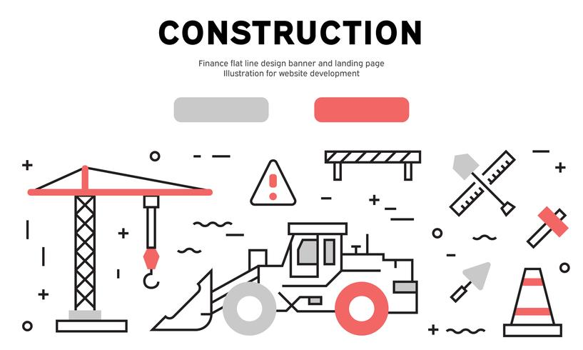 Flache Linie Designfahne und Landingpage des Baus. Illustration für die Website-Entwicklung vektor