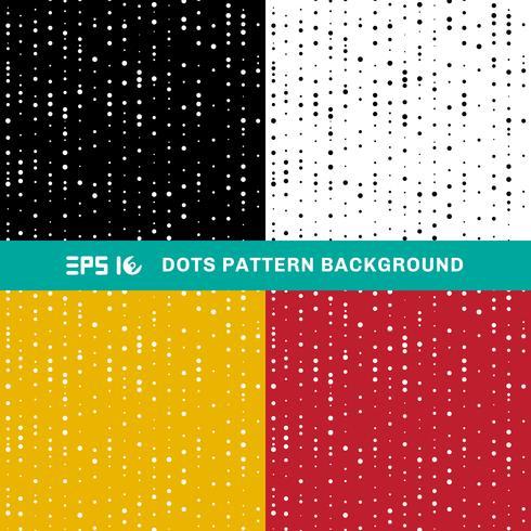 Satz abstrakte geometrische Punktmusterkreise der gelegentlichen Größe auf weißem, schwarzem, gelbem, rotem Hintergrund. vektor
