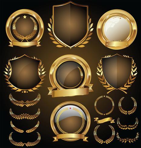 Luxuxprämie goldene Abzeichen und Kennsätze vektor