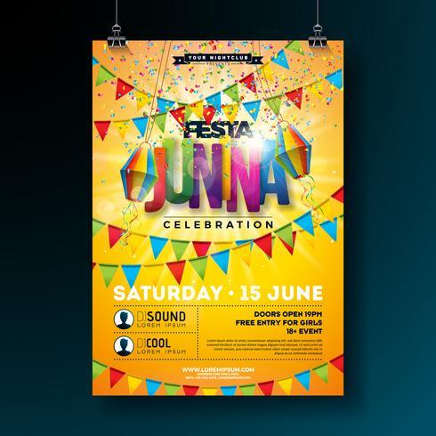 Festa Junina Party Flyer Design med Flaggor, Pappersljus och Typografi Design på gul bakgrund. Vektor traditionell Brasilien juni festivals illustration