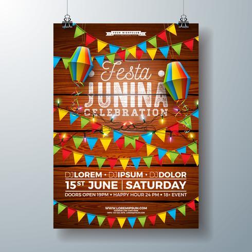 Partei-Flieger-Design Festa Junina mit Flaggen, Papierlaterne und Typografie entwerfen auf Weinlese-Holz-Hintergrund. Vektor-traditionelle Festival-Illustration Brasiliens Juni vektor