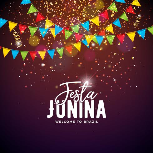 Festa Junina Illustration med Party Flaggor och Typografi Brev på Confetti Bakgrund. Vector Brasilien juni festival design