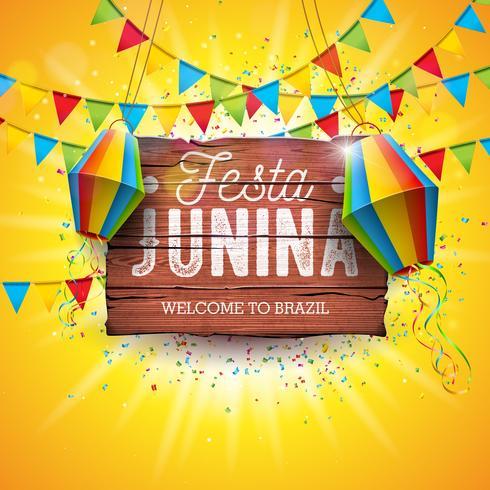 Festa Junina Illustration mit Parteiflaggen und Papierlaterne auf gelbem Hintergrund. Vektor-Brasilien-Juni-Festival-Design-Typografie-Buchstabe auf Weinlese-Holz-Brett vektor
