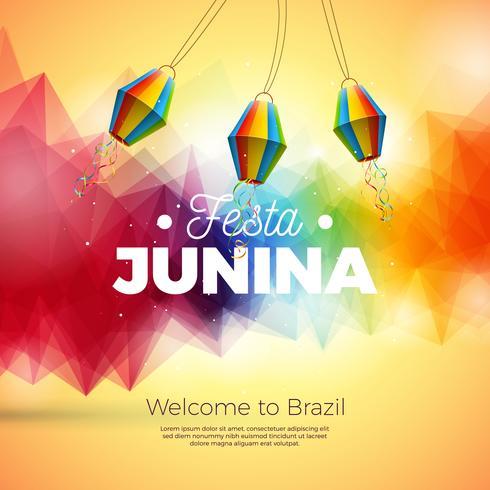 Festa Junina Illustration med Paper Lantern onAbstract Bakgrund. Vektor Brasilien juni festivalsdesign för hälsningskort, inbjudan eller semesteraffisch.