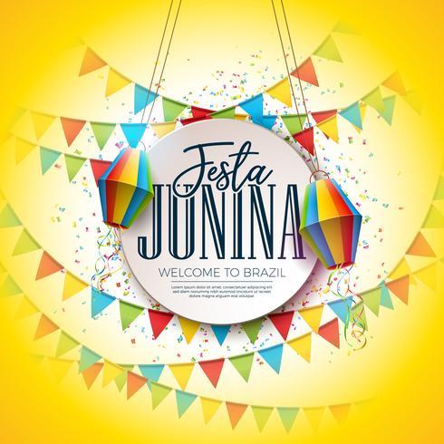 Festa Junina Festival Design med Party Flags and Paper Lantern på färgglada konfetti bakgrund. Vektor Traditionell Brasilien Juni Celebration Illustration