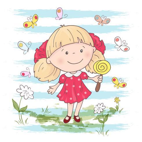 Illustration av en gullig tecknad tjej med en leksak på en blå bakgrund. Vektor