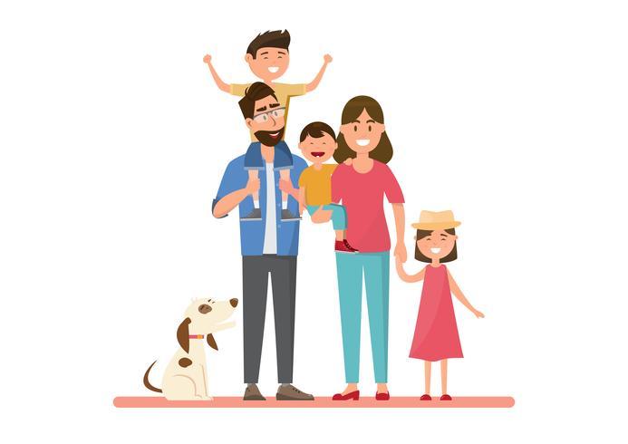 Glückliche Familie. Vater, Mutter, Baby, Sohn und Tochter. vektor