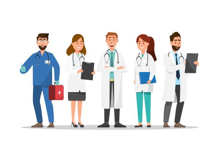 Set av läkare och sjuksköterska tecknade tecken vektor