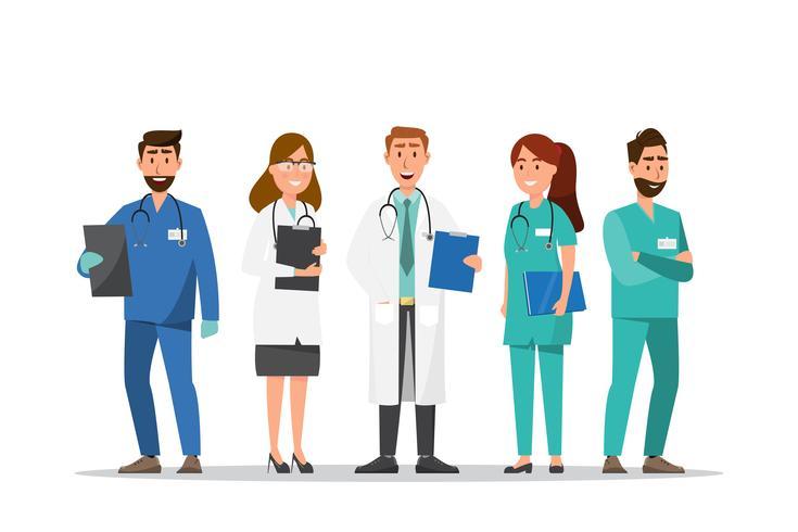 Satz von Arzt und Krankenschwester Zeichentrickfiguren vektor