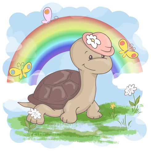 Niedliche Schildkrötenblumen und -schmetterlinge der Postkarte auf einem Regenbogenhintergrund. Cartoon-Stil vektor