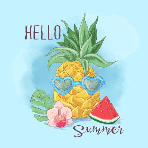 Satz Cocktaileis und tropische Früchte. Vektor-illustration vektor