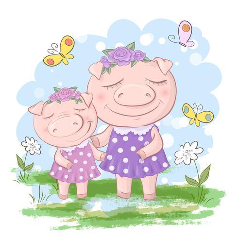 Fun Pig Family Mor och Son. Roliga tecknade grisar och pigletvänner eller familj. vektor