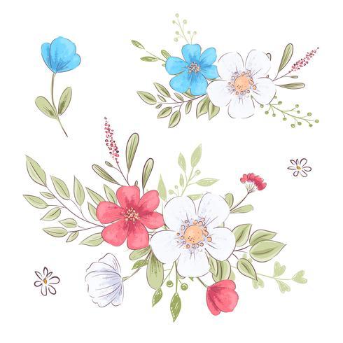 Set von Wildblumen und Schmetterlingen. Handzeichnung. Vektor-illustration vektor