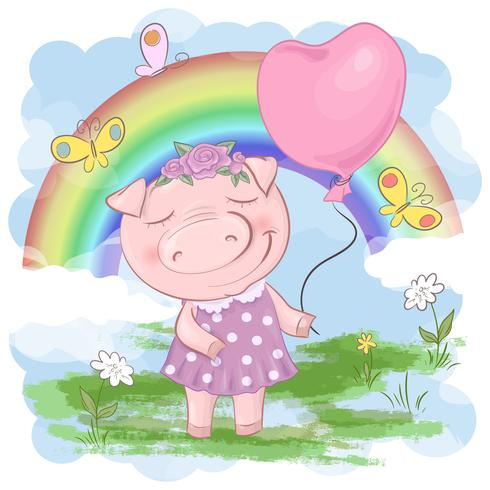 Illustration einer netten Schweinkarikatur auf einem Regenbogenhintergrund. Vektor